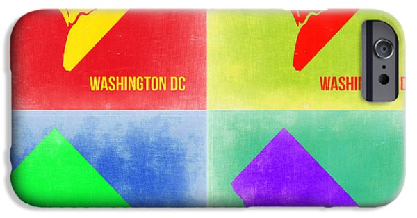 Washington Digital Art iPhone Cases - Washington DC Pop Art Map 2 iPhone Case by Naxart Studio