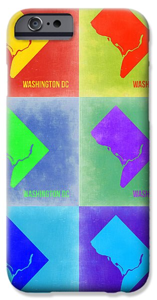 Washington Digital Art iPhone Cases - Washington DC Pop Art Map 3 iPhone Case by Naxart Studio