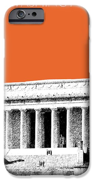 Lincoln iPhone Cases - Washington DC Skyline Lincoln Memorial - Coral iPhone Case by DB Artist