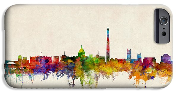 Watercolor iPhone Cases - Washington DC Skyline iPhone Case by Michael Tompsett