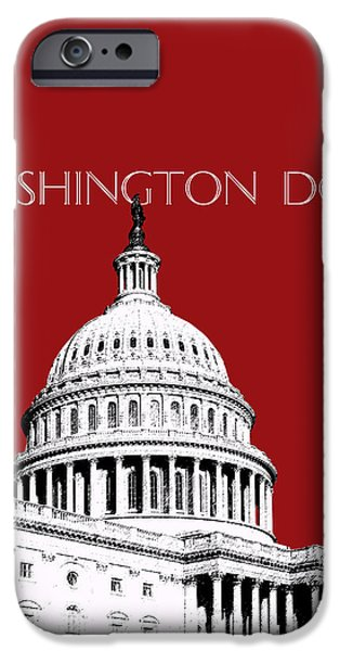 Nation iPhone Cases - Washington DC Skyline The Capital Building -  Dk Red iPhone Case by DB Artist