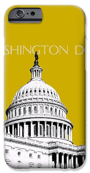 Nation iPhone Cases - Washington DC Skyline The Capital Building - Gold iPhone Case by DB Artist
