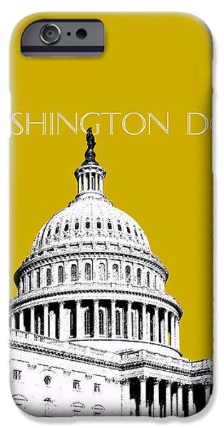 Washington DC Skyline The Capital Building - Gold iPhone Case by DB Artist