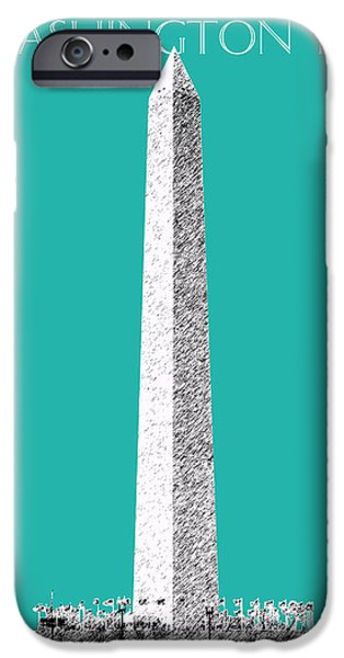 Pen And Ink iPhone Cases - Washington DC Skyline Washington Monument - Teal iPhone Case by DB Artist