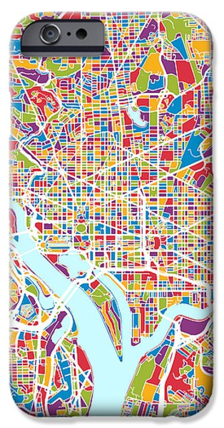 Washington Digital Art iPhone Cases - Washington DC Street Map iPhone Case by Michael Tompsett