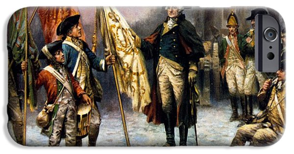 American Revolution Digital Art iPhone Cases - Washington Inspecting The Captured Colors iPhone Case by Percy Moran