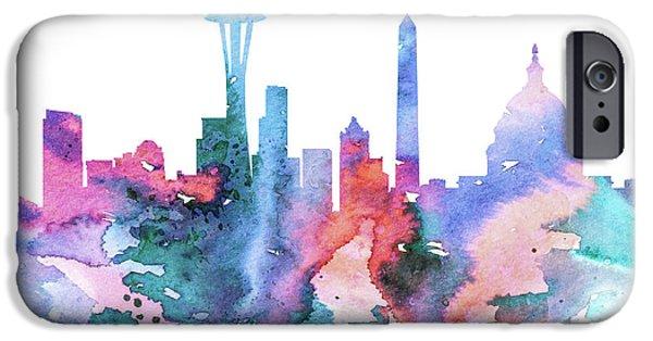 Maps Paintings iPhone Cases - Washington iPhone Case by Lyubomir Kanelov
