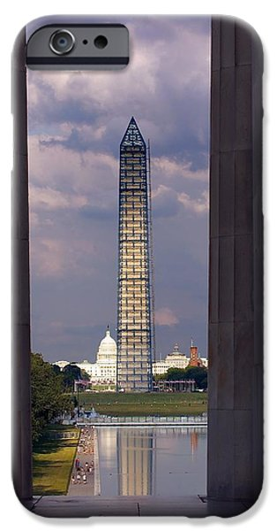 Nation iPhone Cases - Washington Monument and Capitol 2 iPhone Case by Stuart Litoff