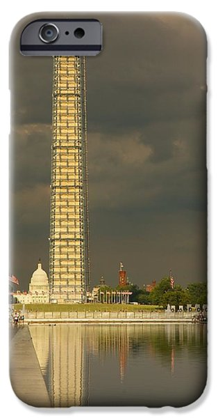 Lincoln iPhone Cases - Washington Monument and Capitol #3 iPhone Case by Stuart Litoff