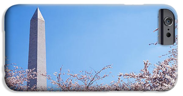 Tall Trees iPhone Cases - Washington Monument Behind Cherry iPhone Case by Panoramic Images