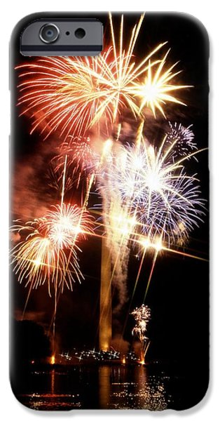 4th July Photographs iPhone Cases - Washington Monument Fireworks 2 iPhone Case by Stuart Litoff