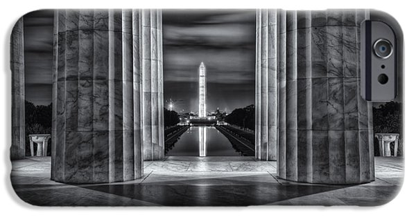 D.c. iPhone Cases - Washington Monument from Lincoln Memorial II iPhone Case by Clarence Holmes