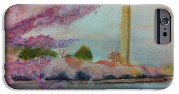 Cherry Blossoms Pastels iPhone Cases - Washington Monument iPhone Case by Tiffany Albright