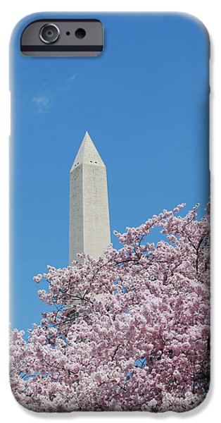 President iPhone Cases - Washington Monument with Cherry Blossoms iPhone Case by DejaVu Designs