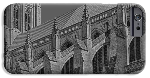 D.c. iPhone Cases - Washington National Cathedral  BW iPhone Case by Susan Candelario