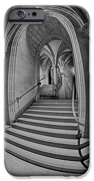 D.c. iPhone Cases - Washington National Cathedral Crypt Level Stairs BW iPhone Case by Susan Candelario