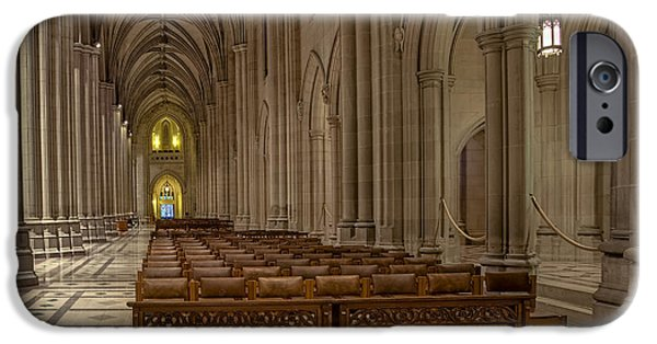 D.c. iPhone Cases - Washington National Cathedral Nave iPhone Case by Susan Candelario
