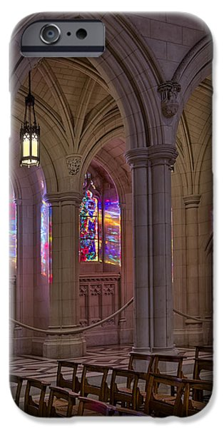 D.c. iPhone Cases - Washington National Cathedral Stained Glass Colors iPhone Case by Susan Candelario