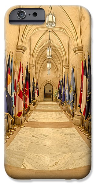 D.c. iPhone Cases - Washington National Cathedral State Flags iPhone Case by Susan Candelario