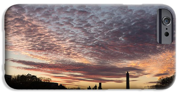 Smithsonian iPhone Cases - Washington National Mall Skyline and a Spectacular Sky iPhone Case by Georgia Mizuleva