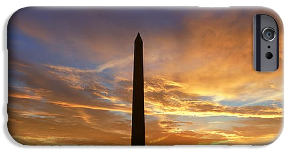 D.c. iPhone Cases - Washington National Monument At Sunrise iPhone Case by Panoramic Images