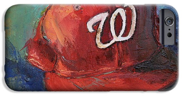 Baseball Art Paintings iPhone Cases - Washington Nationals iPhone Case by Lindsay Frost