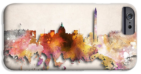D.c. Digital iPhone Cases - Washington Painted City Skyline iPhone Case by World Art Prints And Designs