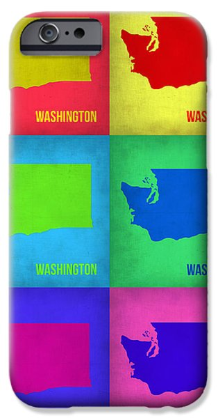 Washington Digital Art iPhone Cases - Washington Pop Art Map 1 iPhone Case by Naxart Studio