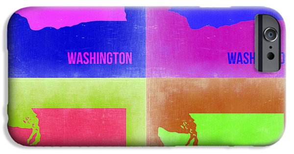 Washington Digital Art iPhone Cases - Washington Pop Art Map 2 iPhone Case by Naxart Studio