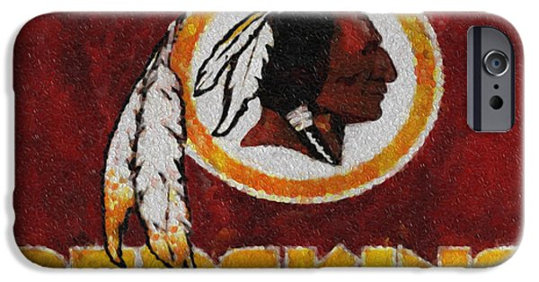 D.c. iPhone Cases - Washington Redskins Mosaic iPhone Case by Jack Zulli