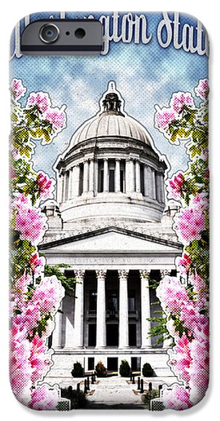 Washington Digital Art iPhone Cases - Washington State Capitol iPhone Case by April Moen
