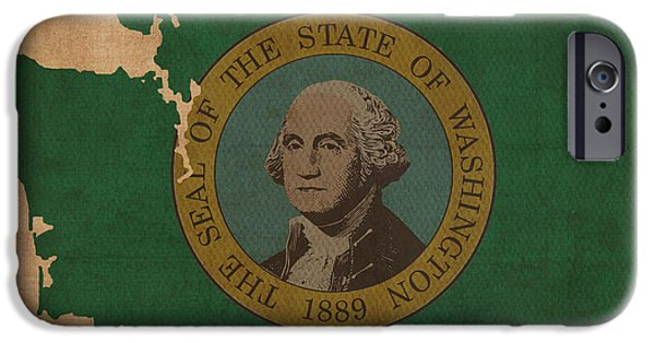 Washington Mixed Media iPhone Cases - Washington State Flag Map Outline With Founding Date on Worn Parchment Background iPhone Case by Design Turnpike
