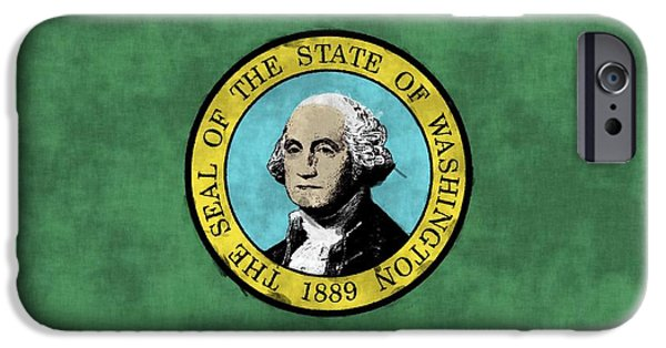 States iPhone Cases - Washington State Flag iPhone Case by World Art Prints And Designs