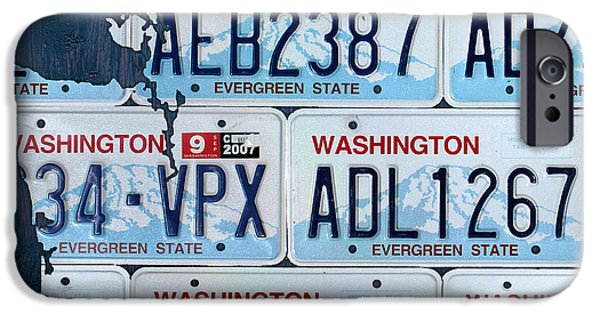Washington Mixed Media iPhone Cases - Washington State License Plate Map Art iPhone Case by Design Turnpike