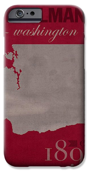 Washington Mixed Media iPhone Cases - Washington State University Cougars Pullman College Town State Map Poster Series No 123 iPhone Case by Design Turnpike