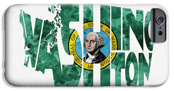 Washington Digital Art iPhone Cases - Washington Typographic Map Flag iPhone Case by Ayse Deniz