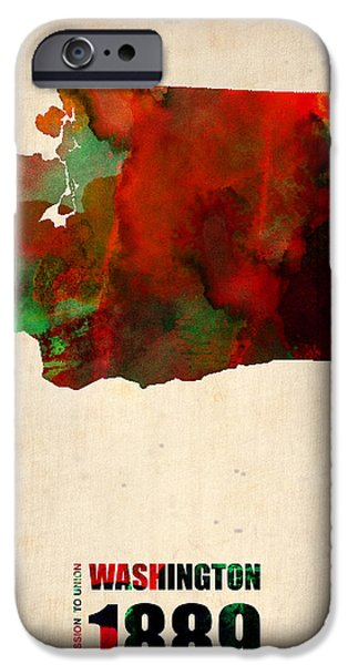 Washington Digital Art iPhone Cases - Washington Watercolor Map iPhone Case by Naxart Studio