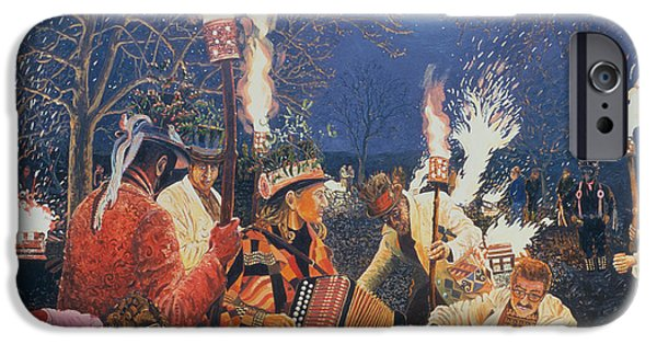 New Years iPhone Cases - Wassailing In Herefordshire, 1995 Oil On Board iPhone Case by Huw S. Parsons