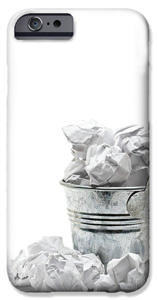 Wastepaper Sculptures iPhone Cases - Waste basket with crumpled papers iPhone Case by Shawn Hempel