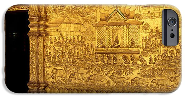 Interior Scene iPhone Cases - Wat Mai Luang Prabang Laos iPhone Case by Panoramic Images