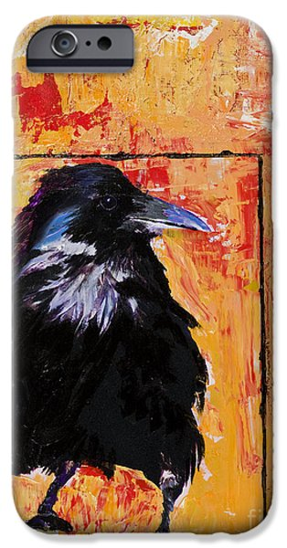 Crows Mixed Media iPhone Cases - Watch and Learn iPhone Case by Pat Saunders-White