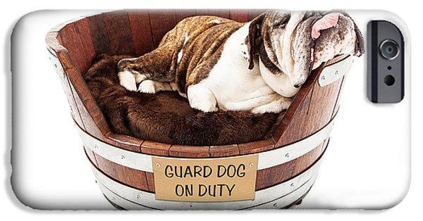 Lazy Dog iPhone Cases - Watch Dog Sleeping on Job iPhone Case by Susan  Schmitz