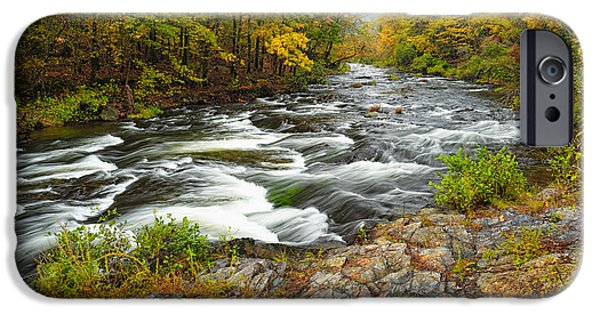 Arkansas iPhone Cases - Watching it all go by  at Beavers Bend Broken Bow Fall  Foliage Oklahoma iPhone Case by Silvio Ligutti