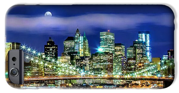 Financial District iPhone Cases - Watching Over New York iPhone Case by Az Jackson