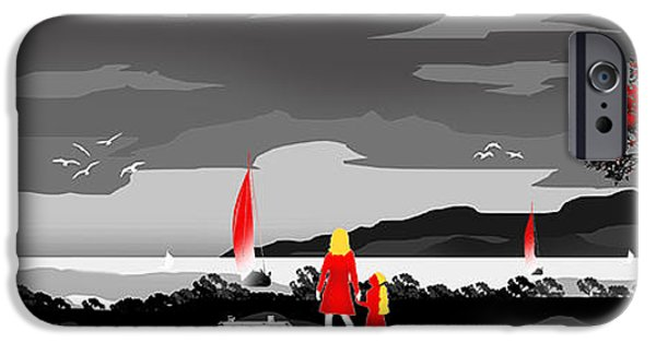 Black Dog iPhone Cases - Watching the Boats With Mum And Ben....Desat iPhone Case by Peter Stevenson