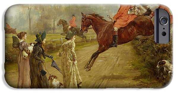 Concept Paintings iPhone Cases - Watching the Hunt iPhone Case by Kilburne