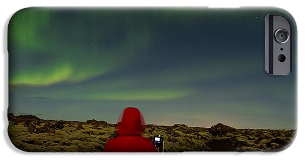 Northern Lights iPhone Cases - Watching the Northern Lights iPhone Case by Andres Leon