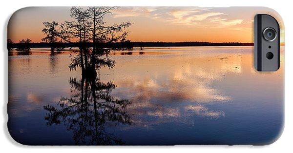 Stargazing iPhone Cases - Watching the Sunset at BA Steinhagen Lake Martin Dies Jr. State Park - Jasper East Texas iPhone Case by Silvio Ligutti