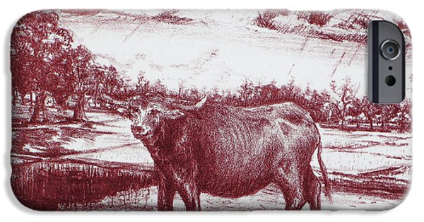 Abstract Collage Drawings iPhone Cases - Water Buffalo iPhone Case by Jott Harris