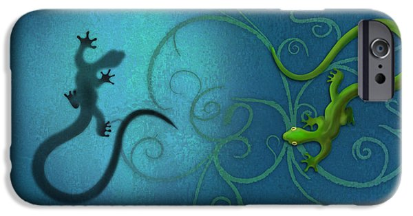 Illustrations iPhone Cases - water colour print of twin geckos and swirls Duality iPhone Case by Sassan Filsoof